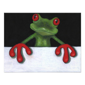 TREE FROG HOLDING SIGN: YOU PICK WORDING CUSTOM ANNOUNCEMENTS