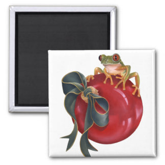 Tree Frog Holiday Magnet