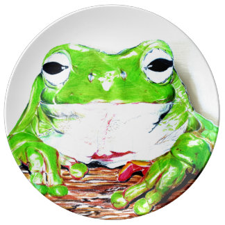 Tree frog illustrated porcelain plates