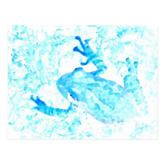 tree frog invert blue white moss animal design postcard