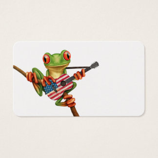 Tree Frog Playing American Flag Guitar White Business Card