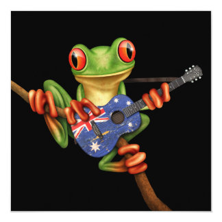 "Tree Frog Playing Australian Flag Guitar Black 5.25"" Square Invitation Card"