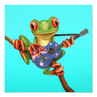 Tree Frog Playing Australian Flag Guitar Blue Personalized Announcement