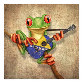 "Tree Frog Playing Bosnia-Herzegovina Guitar 5.25"" Square Invitation Card"