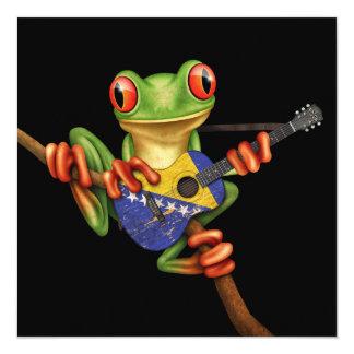 "Tree Frog Playing Bosnia-Herzegovina Guitar Black 5.25"" Square Invitation Card"