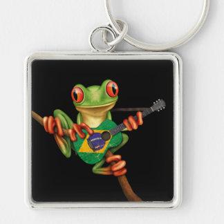 Tree Frog Playing Brazilian Flag Guitar Black Keychain