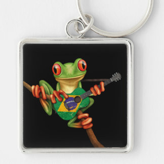 Tree Frog Playing Brazilian Flag Guitar Black Silver-Colored Square Keychain