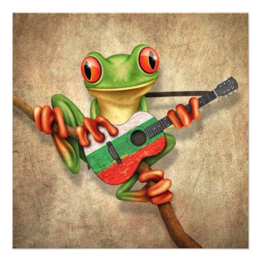 Tree Frog Playing Bulgarian Flag Guitar Custom Invitation