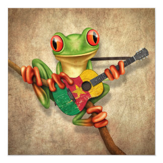 "Tree Frog Playing Cameroon Flag Guitar 5.25"" Square Invitation Card"