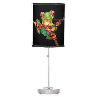 Tree Frog Playing Cameroon Flag Guitar Black Desk Lamps