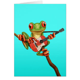 Tree Frog Playing Canadian Flag Guitar Blue Card
