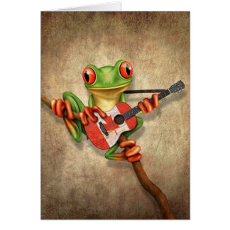 Tree Frog Playing Canadian Flag Guitar Card