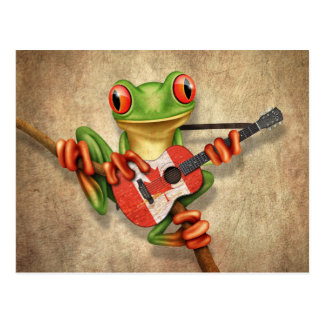 Tree Frog Playing Canadian Flag Guitar Postcard