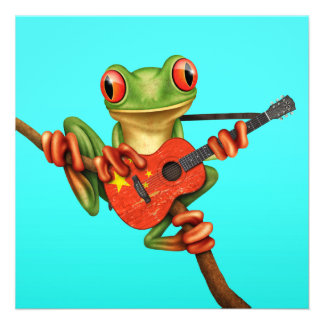 Tree Frog Playing Chinese Flag Guitar Blue Personalized Invite