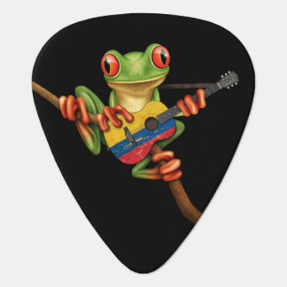 Tree Frog Playing Colombian Flag Guitar Black Guitar Pick