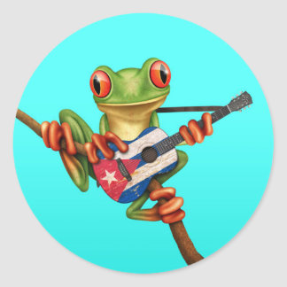 Tree Frog Playing Cuban Flag Guitar Blue Round Sticker