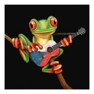 "Tree Frog Playing Czech Flag Guitar Black 5.25"" Square Invitation Card"