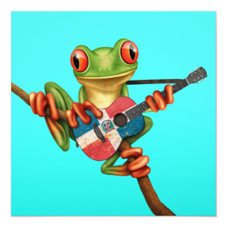 """Tree Frog Playing Dominican Flag Guitar Blue 5.25"""" Square Invitation Card"""