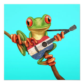 "Tree Frog Playing Dutch Flag Guitar Blue 5.25"" Square Invitation Card"