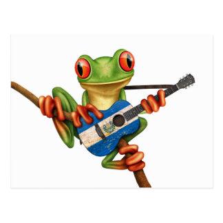 Tree Frog Playing El Salvador Flag Guitar White Postcard