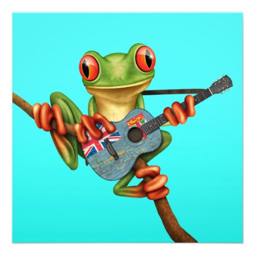 Tree Frog Playing Fiji Flag Guitar Blue Personalized Invitations