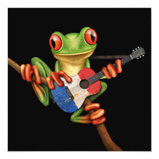 "Tree Frog Playing French Flag Guitar Black 5.25"" Square Invitation Card"