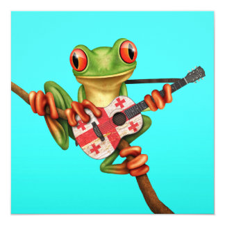 Tree Frog Playing Georgian Flag Guitar Blue Announcements