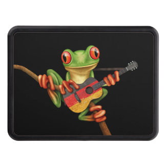 Tree Frog Playing German Flag Guitar Black Trailer Hitch Cover