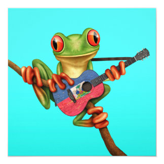 "Tree Frog Playing Haitian Flag Guitar Blue 5.25"" Square Invitation Card"