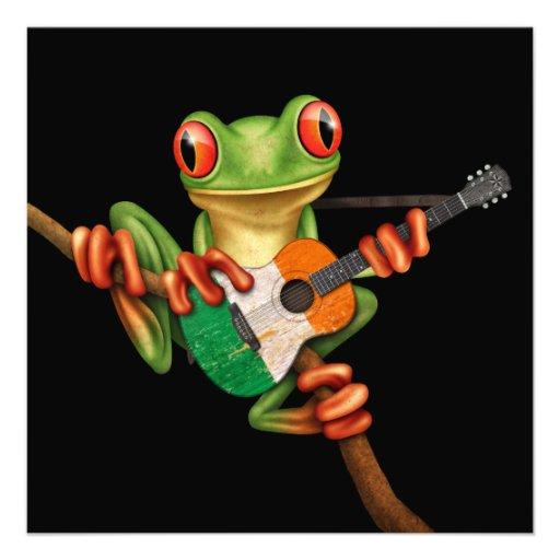 Tree Frog Playing Irish Flag Guitar Black Custom Invitation