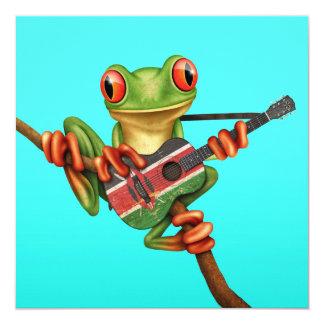 Tree Frog Playing Kenyan Flag Guitar Blue Invite