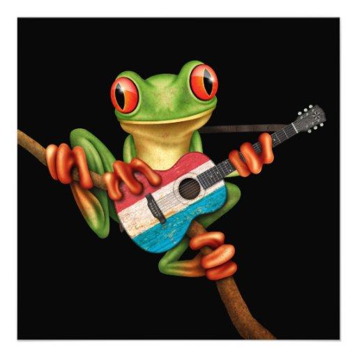 Tree Frog Playing Luxembourg Flag Guitar Black Custom Invitation
