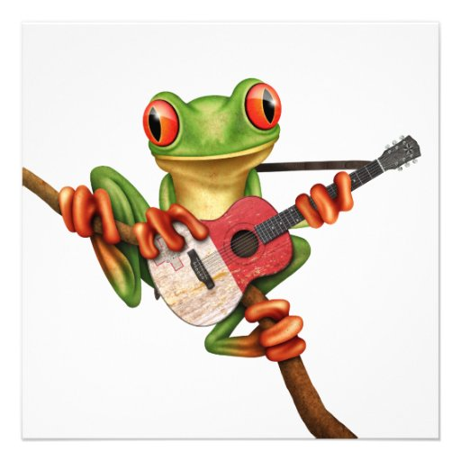 Tree Frog Playing Maltese Flag Guitar White Invitation