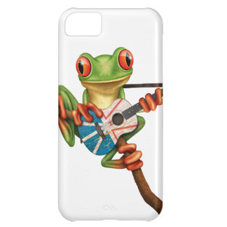 Tree Frog Playing Newfoundland Flag Guitar White iPhone 5C Covers