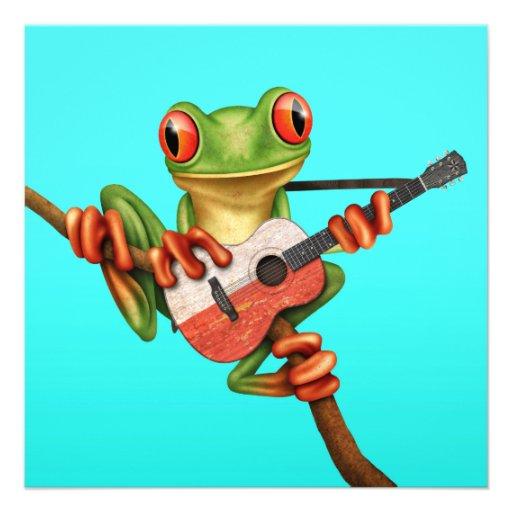 Tree Frog Playing Polish Flag Guitar Blue Custom Invite