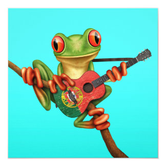 "Tree Frog Playing Portuguese Flag Guitar Blue 5.25"" Square Invitation Card"
