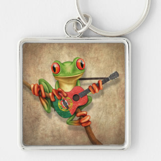 Tree Frog Playing Portuguese Flag Guitar Silver-Colored Square Keychain