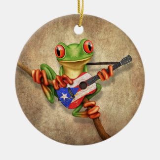 Tree Frog Playing Puerto Rico Flag Guitar Round Ceramic Ornament