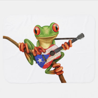 Tree Frog Playing Puerto Rico Flag Guitar White Baby Blanket