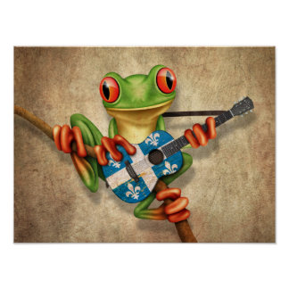 Tree Frog Playing Quebec Flag Guitar Poster