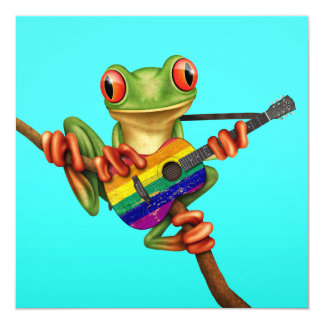 "Tree Frog Playing Rainbow Flag Guitar Blue 5.25"" Square Invitation Card"