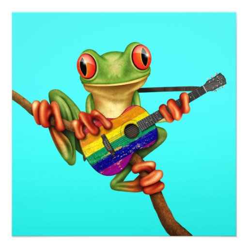 Tree Frog Playing Rainbow Flag Guitar Blue Announcements