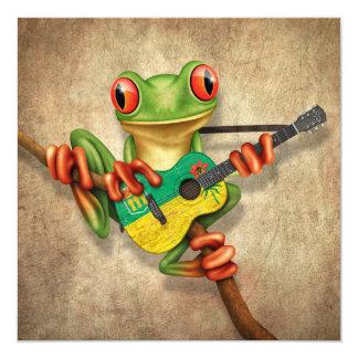 "Tree Frog Playing Saskatchewan Flag Guitar 5.25"" Square Invitation Card"