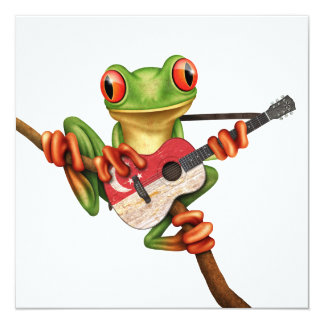 "Tree Frog Playing Singapore Flag Guitar White 5.25"" Square Invitation Card"
