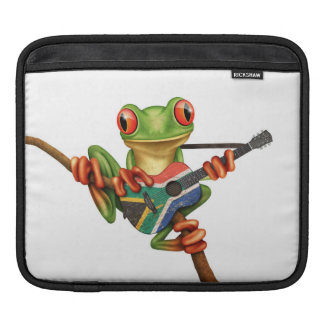 Tree Frog Playing South African Flag Guitar White iPad Sleeve