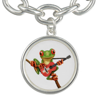 Tree Frog Playing Swiss Flag Guitar White Bracelet