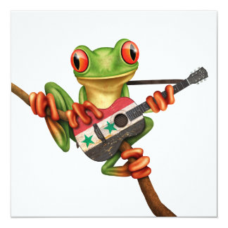 """Tree Frog Playing Syrian Flag Guitar White 5.25"""" Square Invitation Card"""