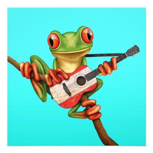 Tree Frog Playing Tahitian Flag Guitar Blue Announcement