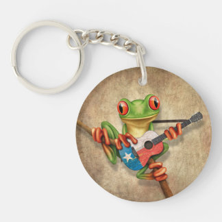 Tree Frog Playing Texas Flag Guitar Double-Sided Round Acrylic Keychain