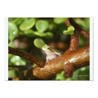 Tree frog ready to spring out of bonsai tree custom invites